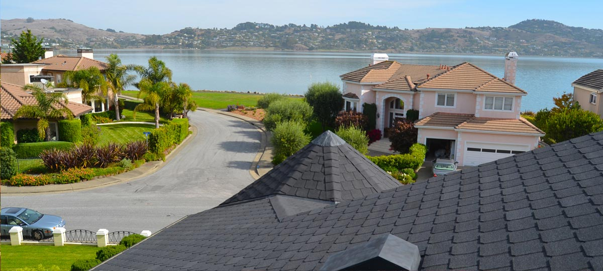 View of San Francisco Bay from roof in Marin County during shingle re-roofing by Wedge Roofing