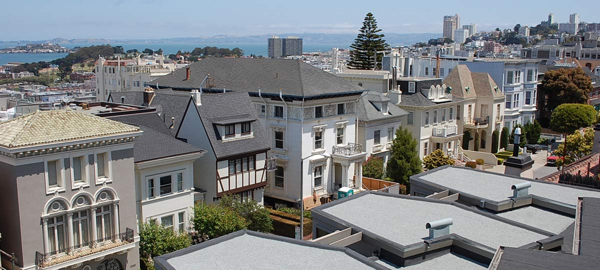 San Francisco rooftop of Pacific Heights apartment building during re-roofing by Wedge Roofing